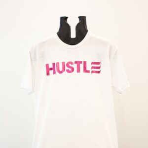 "Pink ""Hustle"" on White"
