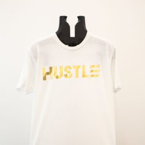 "Gold ""Hustle"" on White"