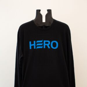 Blue logo on black long sleeve shirt