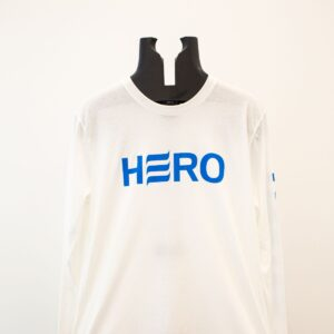 Blue logo on white long sleeve shirt